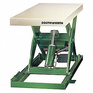 "Stationary Scissor Lift Table,  3000 lb. Load Capacity,  43-1/4"" Lifting Height Max.,  Electric Lift"