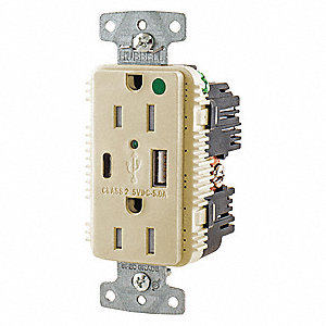 15A Hospital Grade USB Charger Receptacle, Ivory