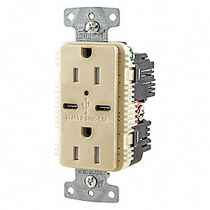 15A Commercial USB Charger Receptacle, Ivory