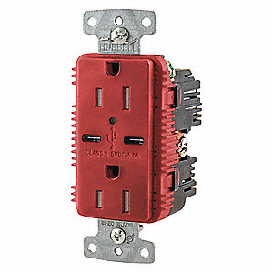 15A Commercial Environments USB Charger Receptacle, Red
