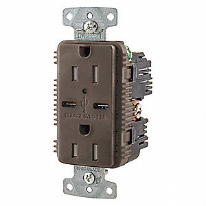 15A Commercial USB Charger Receptacle, Brown