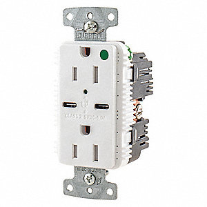 15A Hospital Grade USB Charger Receptacle, White