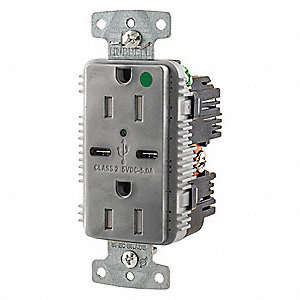 15A Hospital Grade USB Charger Receptacle, Gray