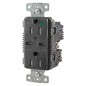 15A Hospital Grade USB Charger Receptacle, Black