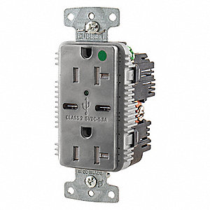 20A Hospital Grade USB Charger Receptacle, Gray