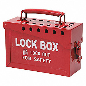 Red Steel Group Lockout Box, Max. Number of Padlocks: 13, 6 in x 9 in