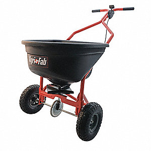 Push Spreader, 110 lb. Capacity, Pneumatic Wheel Type, Broadcast Drop Type