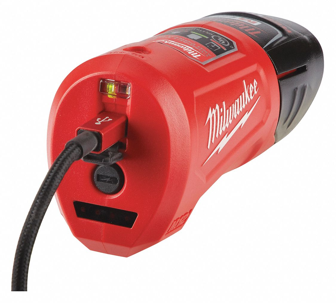 USB Charger and Power Source,  For Use With M12 Batteries, Milwaukee M12 Heated Apparel