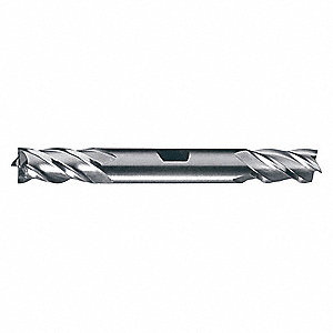 Square End Mill,  Weldon Flat,  Powdered Metal,  Bright (Uncoated)