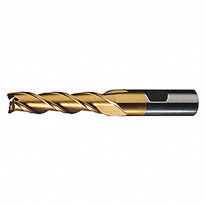 Square End Mill,  Weldon Flat,  High Speed Steel,  TiN
