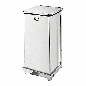 Defender 12 gal. Square Flat Top Decorative Trash CanH, Natural