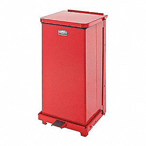 Defender 12 gal. Square Dome Top Decorative Trash CanH, Red