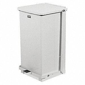 Defender 12 gal. Square Flat Top Decorative Trash CanH, White