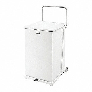 Defender 40 gal. Square Flat Top Decorative Trash CanH, White