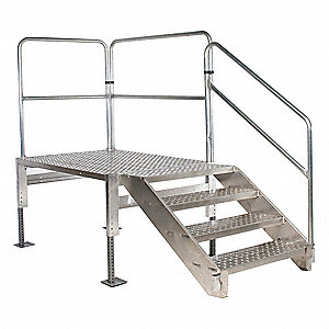 "Work Platform, Aluminum, Single Access Platform Style, 28"" to 35"" Platform Height"