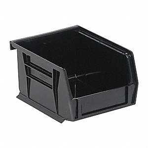 "Hang and Stack Bin, Black, 4-3/8"" Outside Length, 4-1/8"" Outside Width, 3"" Outside Height"