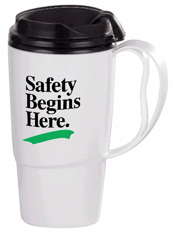 Insulated Travel Mug,  White w/Black Trim and Lid,  Copolymer,  Safety Begins Here,  16 oz Size