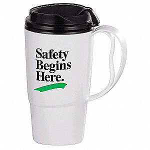 Insulated Travel Mug,  White w/Black Trim and Lid,  Copolymer,  Safety Begins Here,  16 oz. Size