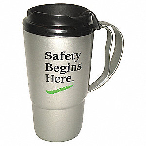 Insulated Travel Mug,Silver/Black,16 oz