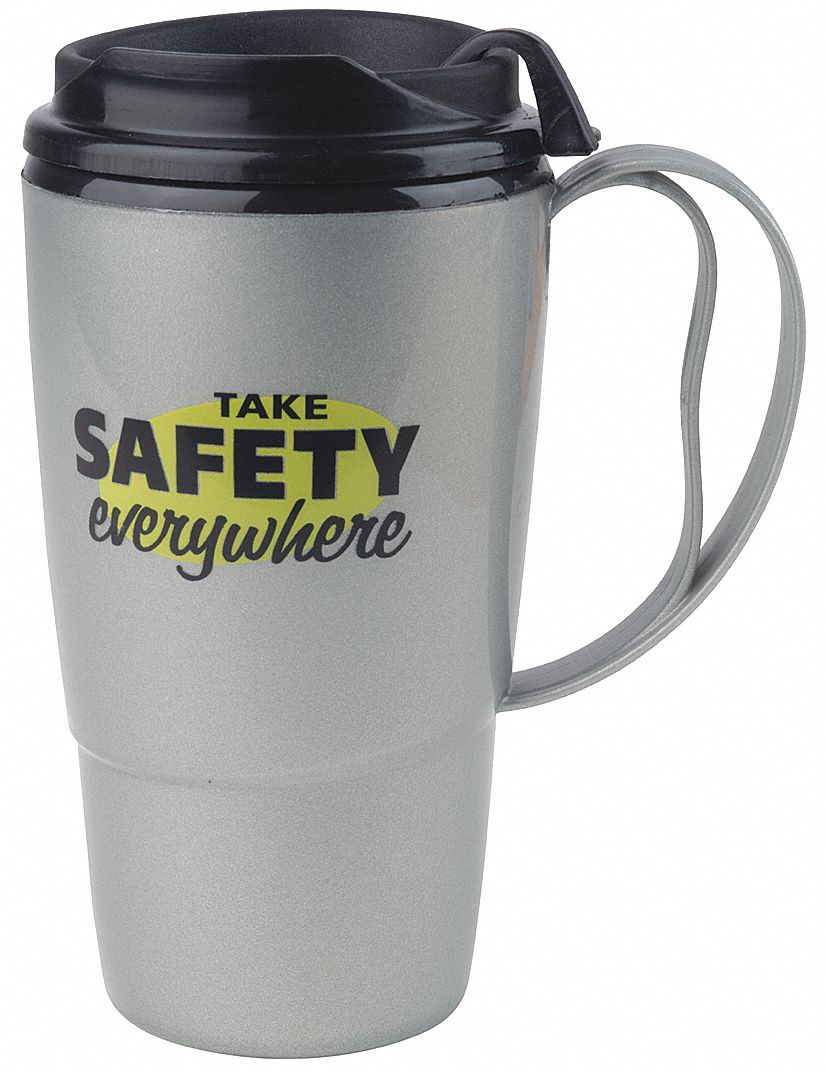 Insulated Travel Mug,  Silver w/Black Trim and Lid,  Copolymer,  Take Safety Everywhere,  16 oz Size