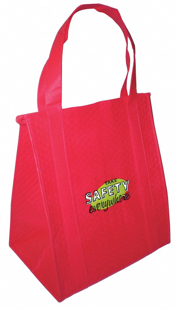 Insulated Tote Bag,  Red,  238 Combined GSM Premium Non-Woven Polypropylene,  Take Safety Everywhere