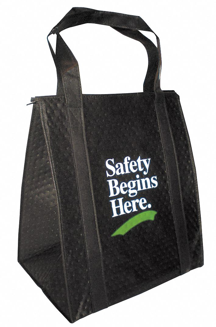 Insulated Tote Bag,  Black,  238 Combined GSM Premium Non-Woven Polypropylene,  Safety Begins Here