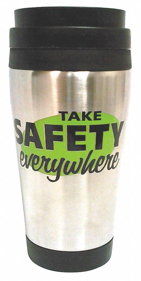 Tumbler,  Silver w/Black Trim and Lid,  Stainless Steel w/Plastic Liner,  Take Safety Everywhere
