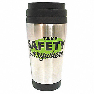 Tumbler,  Silver w/ Black Trim and Lid,  Stainless Steel w/Plastic Liner,  Take Safety Everywhere