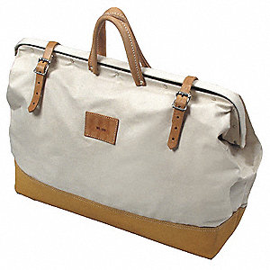 Canvas Tool Bag, General Purpose, Number of Pockets: 1, Brown, White