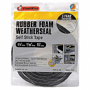 Sponge Rubber, Adhesive Foam Seal, Black, 10 ft Overall Length, 3/4 in Overall Width, 7/16 in Overal