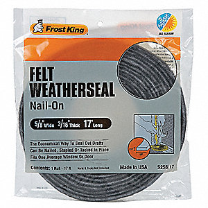 "Felt, Draft Seal, Gray, 17 ft. Overall Length, 5/8"" Overall Width, 3/16"" Overall Height"