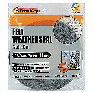 "Felt, Draft Seal, Gray, 17 ft. Overall Length, 1-1/4"" Overall Width, 3/16"" Overall Height"