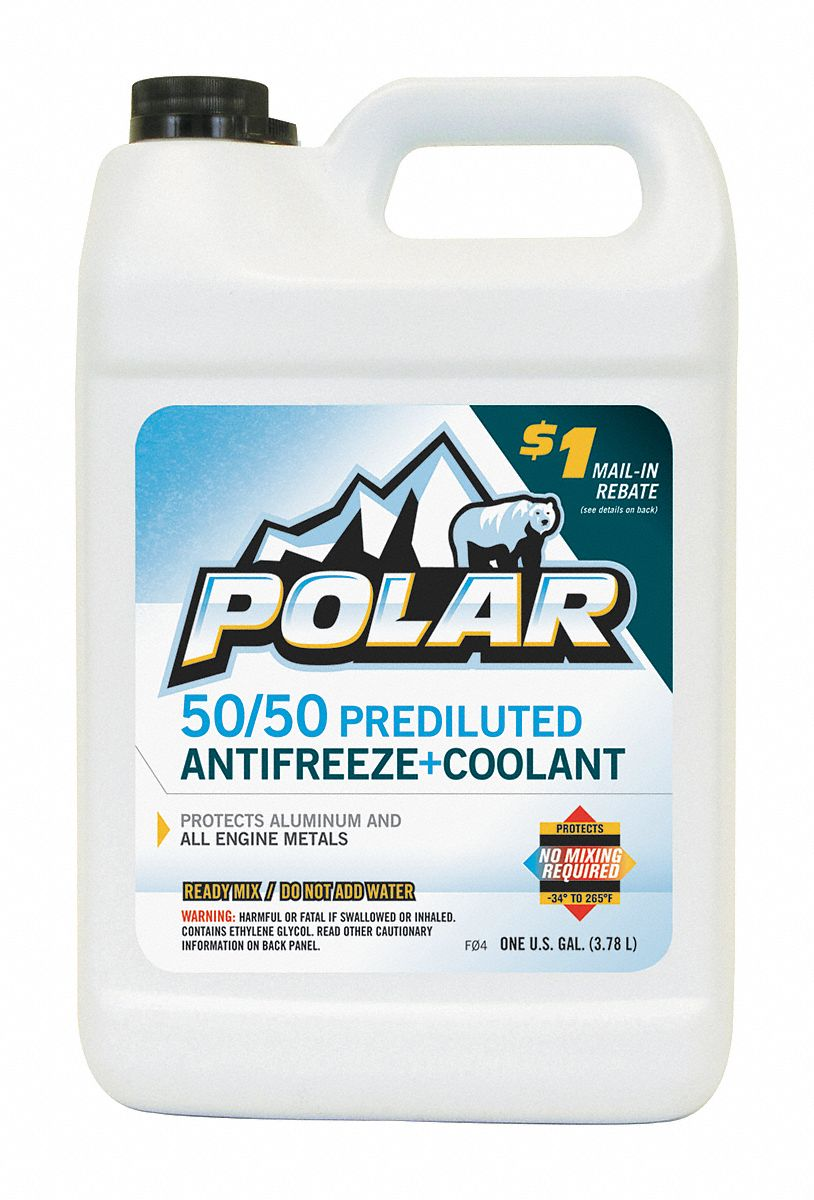Antifreeze Coolant, 1 gal, Plastic Bottle, Dilution Ratio : Pre-Diluted, 34 °F Freezing Point (F)