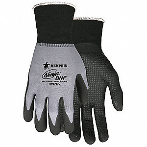 15 Gauge Dotted Nitrile Coated Gloves, Glove Size: XS, Gray/Black