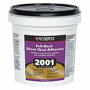 Light Colored Mastic 1 gal. Felt-Back Sheet Vinyl Adhesive, 24 to 48 hr. Curing Time, 1 EA