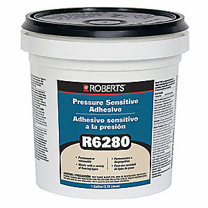 Milky White 1 gal. Pressure Sensitive Adhesive, 24 to 48 hr. Curing Time, 1 EA