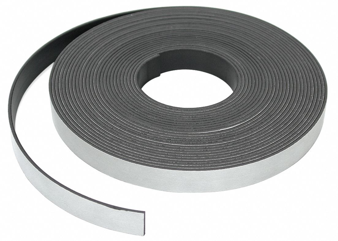 Magnetic Strip,  Indoor Adhesive,  6 lb Max. Pull,  25 ft Length,  1/2 in Width,  PK 6