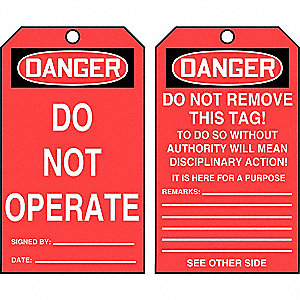 "Danger Tag By The Roll, Accident Prevention, Cardstock, 6-1/4"" x 3"""
