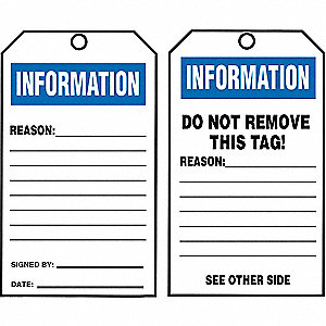 "Information Tag By The Roll, Informational, Cardstock, 6-1/4"" x 3"""