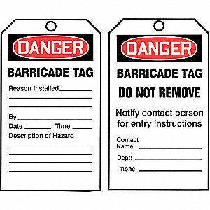 "Danger Tag By The Roll, Barricades, Cardstock, 6-1/4"" x 3"""