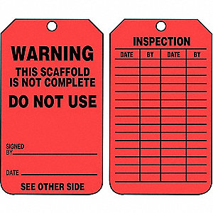 "Warning Tag, Cardstock, Height: 5-3/4"", Width: 3-1/4"", Red"