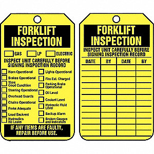 "Inspection Tag,  Forklift Inspection,  5-3/4"" Height,  3-1/4"" Width,  Plastic,  PK 25"