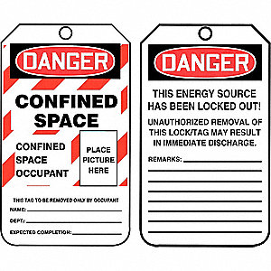 "Danger Tag, Confined Space, Plastic, 5-3/4"" x 3-1/4"""