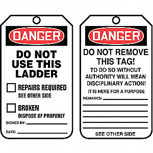 "Danger Tag, Cardstock, Height: 5-3/4"", Width: 3-1/4"", White"