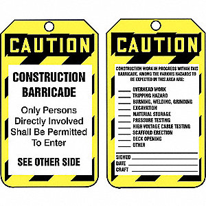 "Caution Tag, Barricades, Plastic, 5-3/4"" x 3-1/4"""