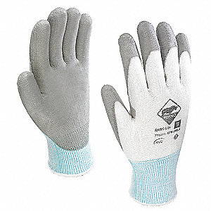 Polyurethane Cut Resistant Gloves, ANSI/ISEA Cut Level 4, Gray/White, 8, PK 12