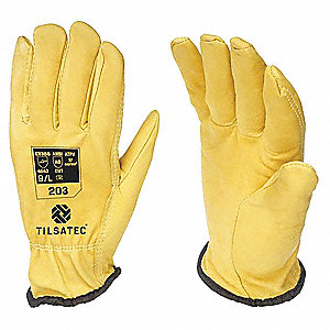 Leather Cut Resistant Gloves, ANSI/ISEA Cut Level 4, Rhino Steel Core Cut Resistant Knit Lining, Yel
