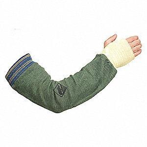 "Aramid Sleeve with Thumbhole, 20""L, Knitted Cuff, Green, Sleeve Size: Universal"