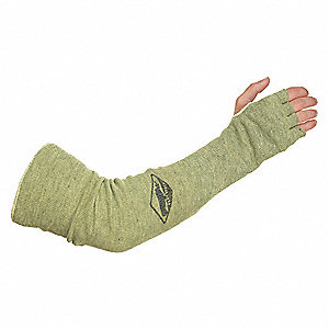 "Aramid Sleeve with Thumbhole, 18""L, Knitted Cuff, Green, Yellow"