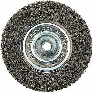 "8"" Crimped Wire Wheel Brush, Arbor Hole Mounting, 0.014"" Wire Dia., 1-5/8"" Bristle Trim Length, 1 EA"